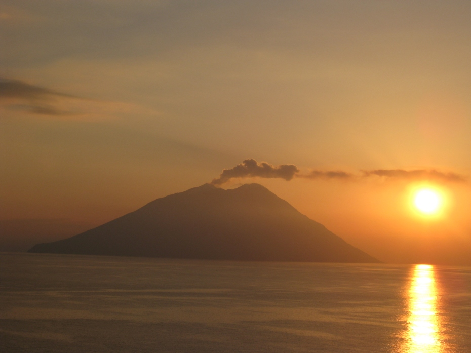 On the way to Sicily we passed the volcanic island of Strombolli at Sunrise, a great way to start the day.