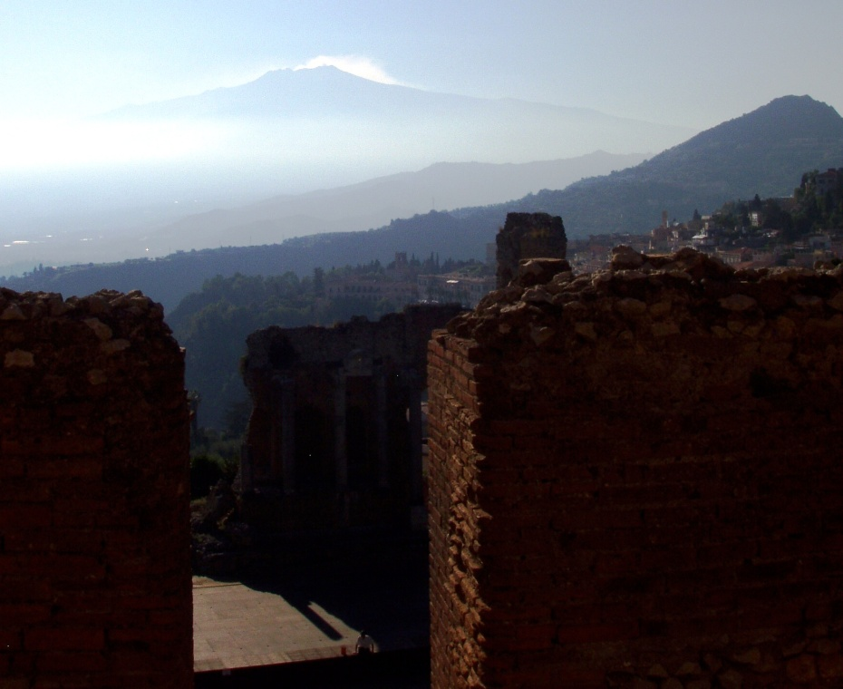 Etna in the distance seen from Taormina Roman Theatre